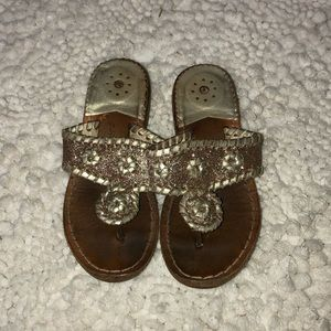 Girls sparkly gold Jack Rogers sz 10